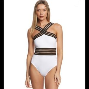 Kenneth Cole High Neck One Piece Swimsuit - M